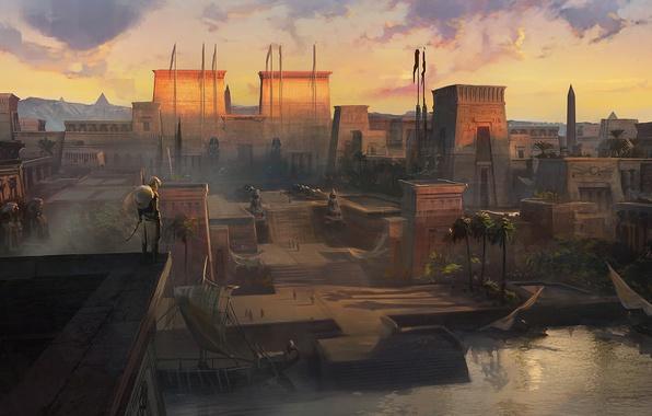 Photo wallpaper the city, Assassin's creed origin, assassin, Egypt