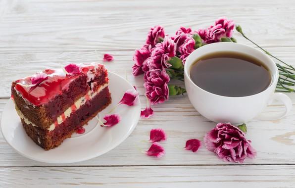 Picture flowers, coffee, bouquet, cake, cream, dessert, coffee, dessert, clove, tiramisu