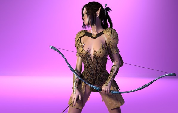 Photo wallpaper girl, armor, bow, elf, pink background