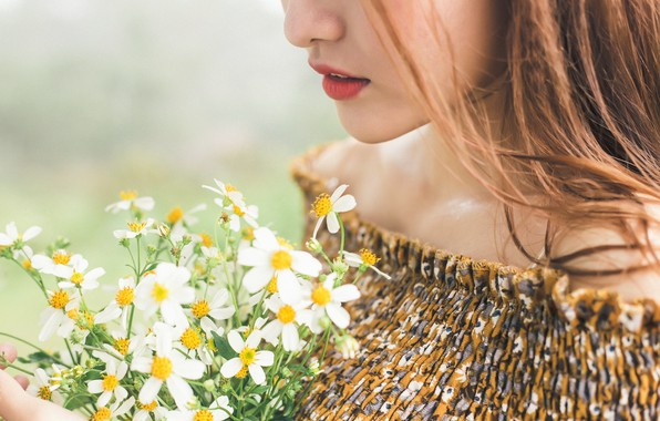 Picture girl, flowers, mood, a bunch