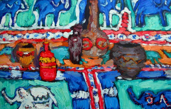 Picture dishes, still life, elephants, 2011, containers, The petyaev