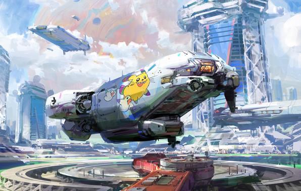 Picture fiction, art, the spaceport, fragment, John Wallin Liberto, Spaceport