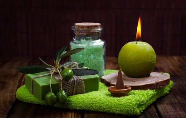 Picture candle, soap, olives, cosmetics, sea salt