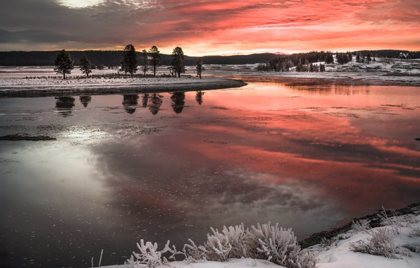 Picture winter, sunset, nature, river