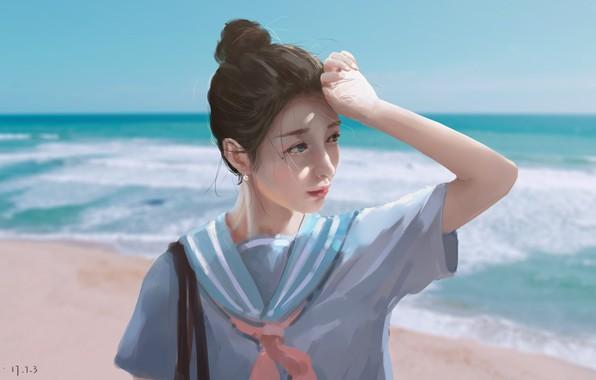 Picture sea, girl, schoolgirl