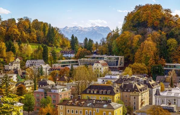 Picture autumn, mountains, home, Austria, panorama, street, Austria, Salzburg, Salzburg, Trees, Houses