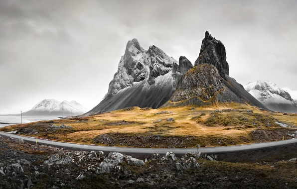 Picture road, fog, mountain
