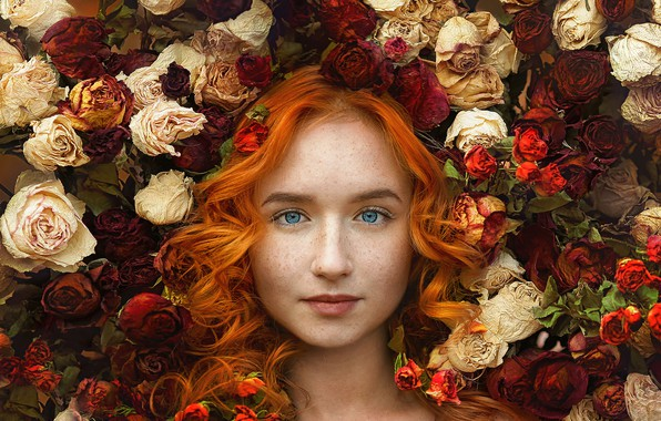Picture look, girl, flowers, face, mood, hair, roses, freckles, red, blue eyes, redhead, curls, Nastasia, Ivga …