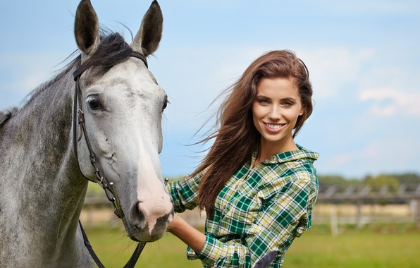 Picture field, the sky, grass, the sun, smile, horse, makeup, hairstyle, shirt, brown hair, beauty, bokeh, ...