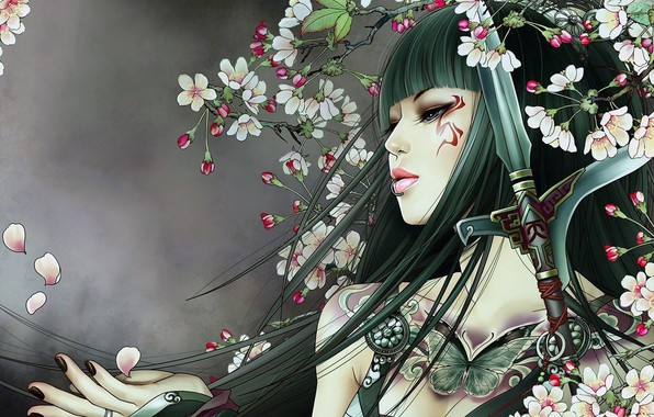 Picture girl, sword, fantasy, weapon, blue eyes, butterfly, flowers, lips, face, brunette, digital art, artwork, piercing, ...