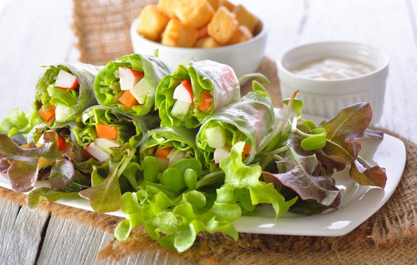 Picture greens, food, vegetables, sauce, salad, appetizer