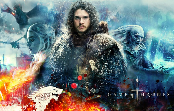 Photo wallpaper fire, ice, undead, woman, man, ken, blade, dragon, A Song of Ice and Fire, evil, ...