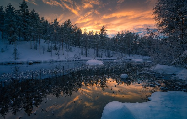 Picture winter, forest, snow, trees, sunset, river, Norway, Norway, RINGERIKE, Ringerike
