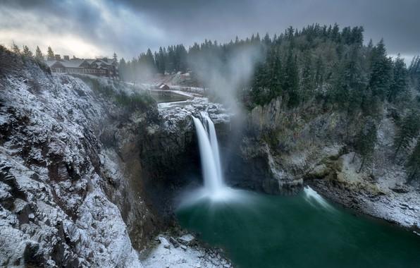 Picture winter, waterfall, Washington, Snoqualmie Falls