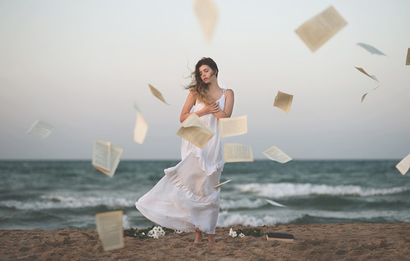 Picture girl, the wind, shore, dress, book, page, Ana Valenciano