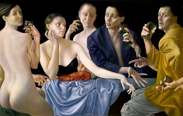 Picture women, 2008, men, masterpiece, cancer, Bakaly, Figurative painting, Normunds Braslins, silk fabric, Society IV