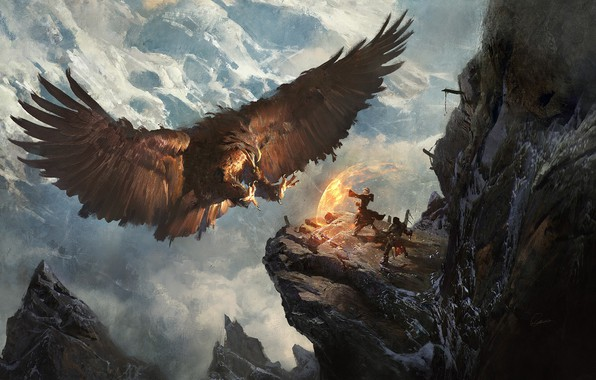 Picture mountains, the situation, eagle, fantasy, heroes, Greg Rutkowski, Secret Pass - Eagle Nest