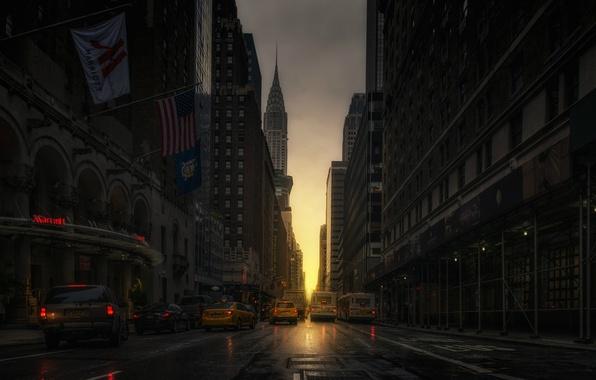 Picture machine, street, taxi, Manhattanhenge