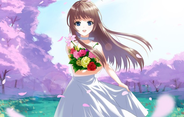 Picture smile, the wind, glade, bouquet, petals, girl, blue eyes, flowering, long hair, sundress, Sakura spring