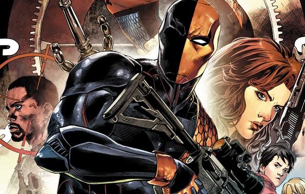 Picture girl, sword, pistol, fantasy, comics, weapons, mask, superhero, DC Comics, sight, machine gun, Deathstroke