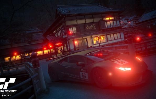 Picture sport car, night japan, real driving simulator, gran turismo sport