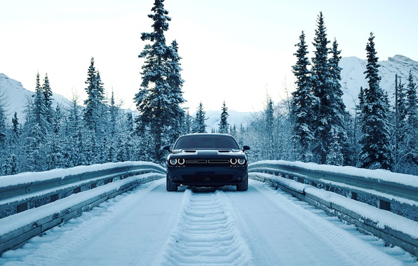 Photo wallpaper road, the sky, mountains, bumper, dodge, lights, tree, snow, bridge, Dodge, lights, Challenger, road, mountains, ...