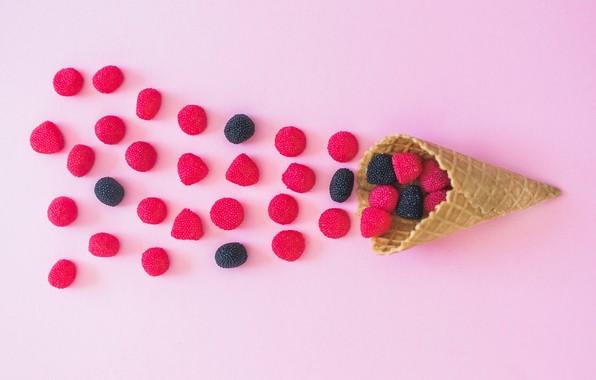 Picture pink background, sugar cone, marmelad