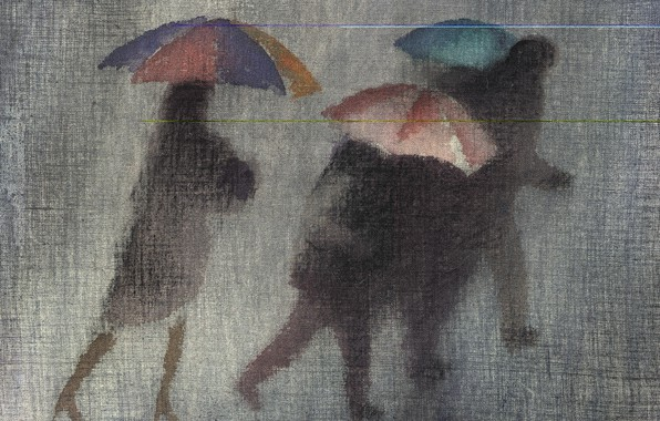 Picture autumn, umbrellas, grey background, the black pieces, Robert McIntosh, torrential rain