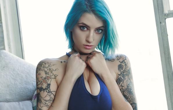 Wallpaper girl, model, blue hair, Pulp, tatoo, suicide ...