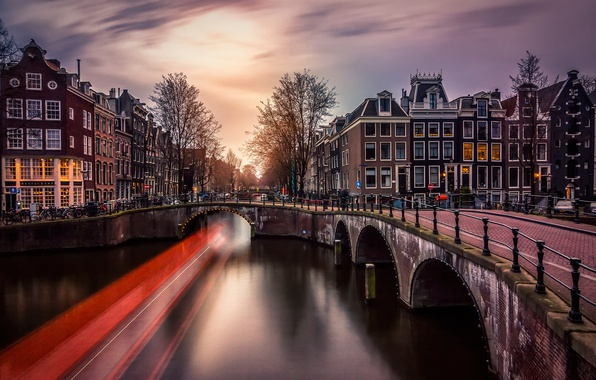 Picture light, bridge, the city, lights, the evening, excerpt, Amsterdam, channel, Netherlands
