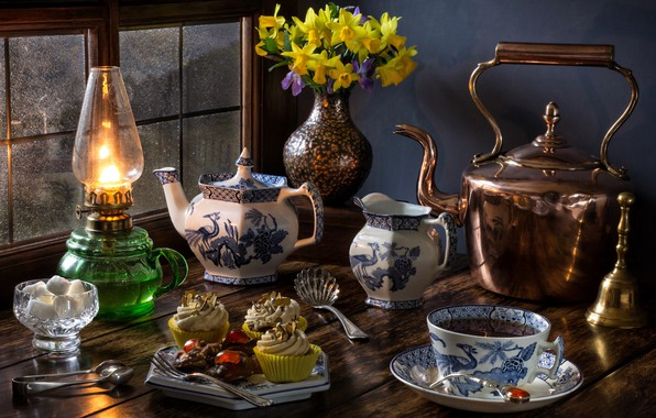 Picture flowers, style, tea, lamp, bouquet, kettle, window, the tea party, mug, sugar, still life, daffodils, ...