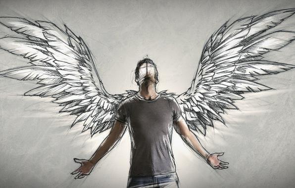 Photo wallpaper people, wings, angel, author, male, Sketch, Sebastien DEL GROSSO