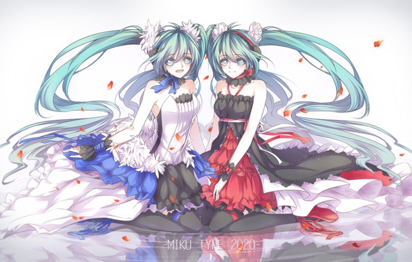 Picture water, reflection, girls, anime, petals, art, vocaloid, hatsune miku, 7th dragon 2020, kitchan