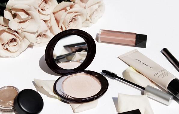 Picture roses, mascara, cream, cosmetics, powder