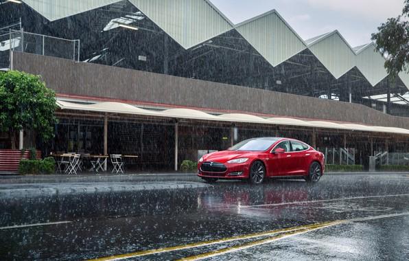 Picture Red, Rain, Car, Model, Tesla, Motors, P85, 2012-14