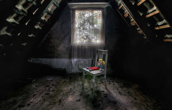 Picture toy, window, chair, attic