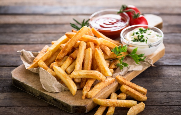 Picture wood, tomatoes, french fries, Portion