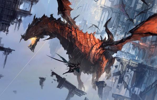 Picture fire, girl, fantasy, flying, wings, battle, digital art, buildings, artwork, fantasy art, jaws, Dragons