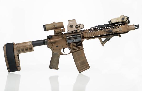 Picture optics, carabiner, strap, assault rifle