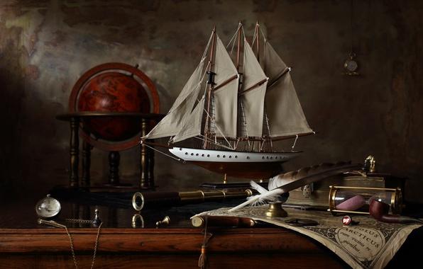 Picture ship, map, sailboat, still life, globe, history, Mercator, Still life with sailing ship