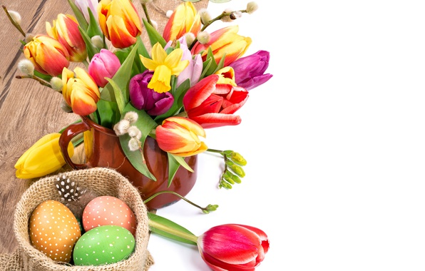 Picture flowers, eggs, spring, colorful, Easter, tulips, Verba, flowers, tulips, daffodils, spring, Easter, painted, eggs, holiday, …