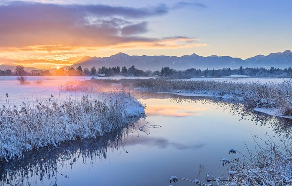Picture winter, sunset, mountains, river, Germany, Bayern, Uffing am Staffelsee