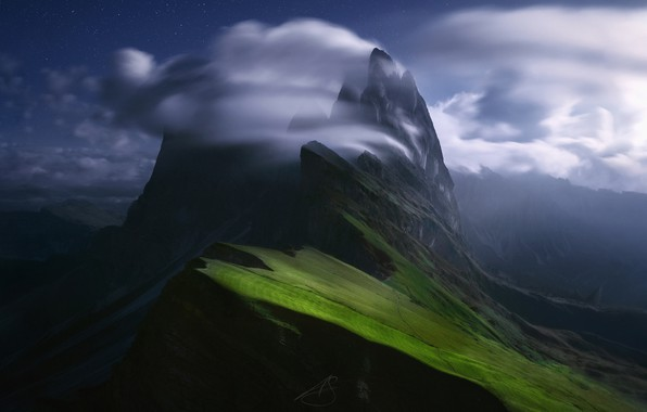 Picture the sky, stars, clouds, mountains, night, the slopes