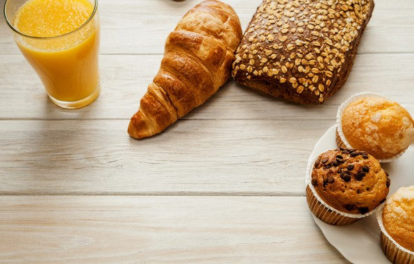 Picture coffee, juice, cupcake, croissant