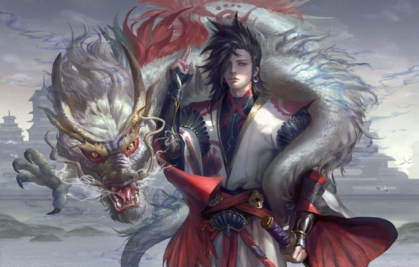 Picture weapons, dragon, Japan, fantasy, art, guy