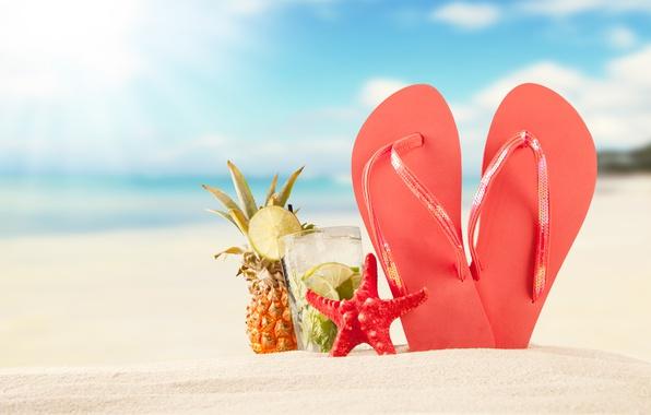 Picture sand, sea, beach, summer, the sun, summer, beach, vacation, sand, mojito, slates, vacation, starfish, seashells