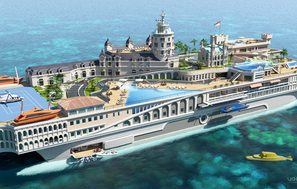 Picture the project, superyacht, Futuristic, the yacht-island, gesign, Yacht-city, Streets of Monaco