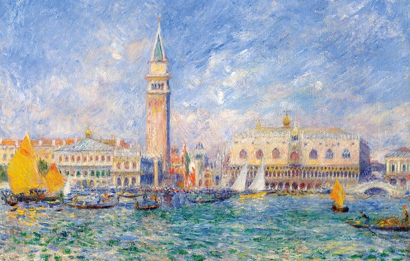 Picture home, picture, Italy, channel, the urban landscape, the bell tower, Pierre Auguste Renoir, Pierre Auguste …