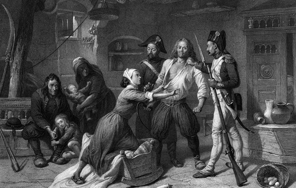 Picture black and white, the French revolution, engraving, Arrest of the royalist, 1793