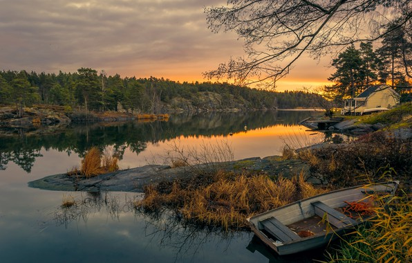 Picture autumn, forest, trees, sunset, river, stones, shore, boat, the evening, house, Sweden